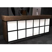 China Luxury Wooden Veneer Surface Grocery Store Checkout Counter With Lighting Box for sale
