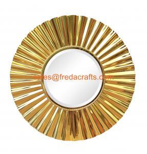 Quality Sunburst metal framed decoration mirror middle bevelled mirror shiny gold finish for sale