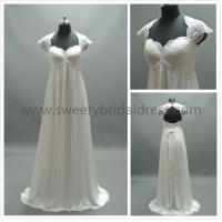 Quality Sheath/Column V-Neck Cap Sleeves Lace and Chiffon Wedding Dress #LT5762B for sale
