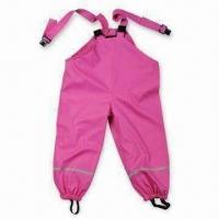 Quality Girl's Rain Pant, Made of PU Material, Available in Pink, with Reflective Tape for sale