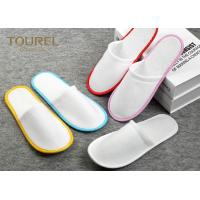 Quality Brush Fabric Dispsable Closed Toe Spa Slippers White Color Red Edge for sale