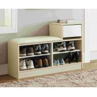 Quality White Modern Narrow Home Shoe Cabinet Cushion Bench With PB Board Frame for sale