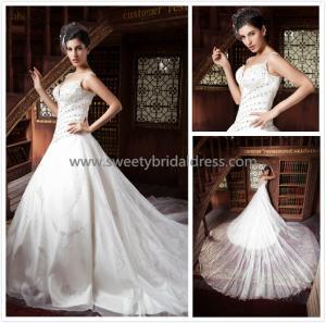 Quality Aline V-Neck Straps More Beading Zipper Tulle Wedding Dress ZX001 for sale