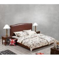 Quality Glassic design of Leisure Bedroom Furniture Upholstered Headboard Bed by True Leather with High density Sponge covered for sale