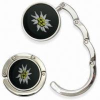 Quality Round-shaped Contractible Handbag Hanger with Embedded Magnet, Made of Zinc Alloy for sale