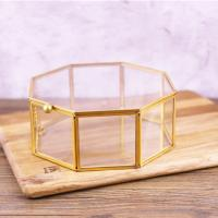 China Golden Glass Jewellery Storage Box for Home/Wedding Decoration for sale
