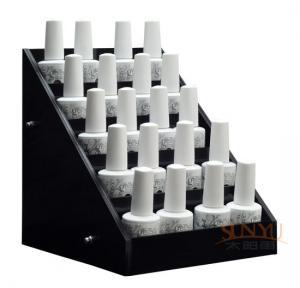 Buy Acrylic 5 Tier Nail Polish Counter Display Black MDF OEM Logo Printing at wholesale prices