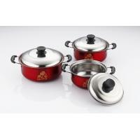 China hot selling 6pcs cookware set with red color  &16/18/20cm cooking pot &16cm/18cm/20cm cookware set in  stainless steel on sale