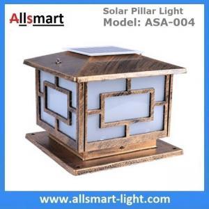 Quality Square Aluminum Solar Pillar Lights Bronze Lampshade Solar Brick Column Post Lamp Solar Welcome Lighting China Factory for sale