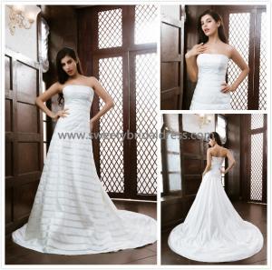 Quality Aline Strapless Zipper Satin Wedding Dress XG003 for sale