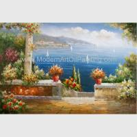 Buy cheap Mediterranean Garden Wall Art Sea Landscape Oil Painting Vacation Harbor from wholesalers