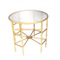 Quality Top-selling Bamboo iron Design Metal Frame Hand Foil Finish Mirror Top Coffee table for sale