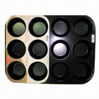 Quality 12 Cups Cake Mold, Made of 0.5mm Carbon Steel, Non-stick Coating for sale
