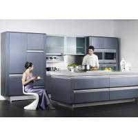 Wooden Frame Blue Lacquer Finish Kitchen Cabinets With Frost Glass Doors