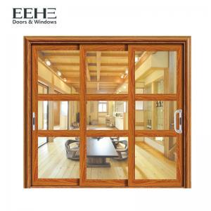 Quality Gold Double Glazed Aluminium Sliding Doors / Living Room Aluminium Folding Sliding Doors for sale