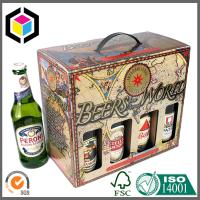 Quality 750ml Beer Bottle Packaging Box; Plastic Handle Color Paper Packaging Box for sale