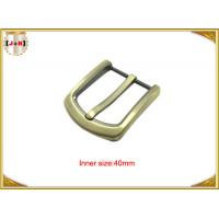 Quality Gold Custom Zinc Alloy Metal Belt Buckle 40mm With CNC Engraved Logo for sale