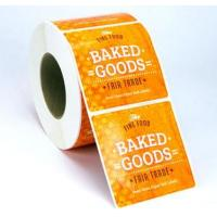 Quality Custom Glossy Sticker Labels Roll , Black Round Vinyl Label Stickers For Food for sale