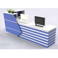 Quality Wood With Lines Design Front Reception Desk / Office Reception Counter Dust Proof for sale
