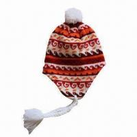 Quality Women's Knitting Pattern Earflap Hat, Made of Arcylic with Fleece Lining for sale