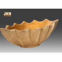Quality Boat Shape Frosted Gold Fiberglass Flower Serving Bowl For Home Wedding for sale