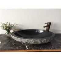Natural Split Surface Stone Sink Bowl Granite Basin 40CM Diamter With Hole 45 MM for sale