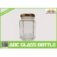 Quality Wholesale clear glass jar hexagon with metal lid for sale
