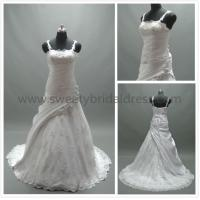Quality Ball Gown Spaghetti Straps Ruffles Lace and Taffeta Wedding Dress #AS2540 for sale