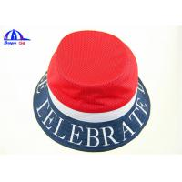 Quality OEM Polyester Mesh Normal Printing Logo Printed Bucket Hats Navy and Red for Women for sale
