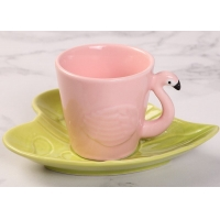 Quality Hotel Stain Resistant 130ml Plate Flamingo Tea Set for sale