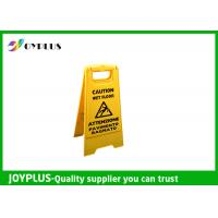 Buy Yellow Plastic Caution Sign Board / Portable Sign Stands Eco Friendly 62x30cm at wholesale prices