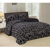 Quality Pigment Printed 4 Piece Bedding Set Easy Care With White Words Pattern for sale