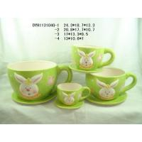 Quality Rabbit Ceramic Flower Pots And Planters Big Cup Shape With Saucer For Easter for sale