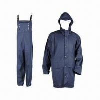 Quality Adult PU Raincoat, 5000mm WP, Made of 50% PU and 50% Polyester for sale
