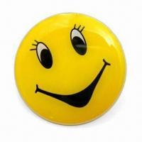 Quality Smile Blinking Pins, Made of PCB Material, with Silkscreen and Offset Printing for sale