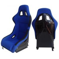 Quality Fabric + Blk Fiber Glass Bucket Racing Seats With Belt Harness Holes for sale
