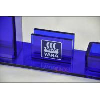 Buy Table Top Brochure Stands Custom Blue Plastic Office Supplies Pen Holder Transparent at wholesale prices