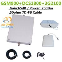 High Power GSM DCS 3G 9001800 2100MHz TriBand Cellphone Mobile Signal Booster Repeater Amplifier+Panel Antenna+15m 7D-FB for sale