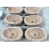 Wooden Vein Stone Sink Bowl , Sandstone Vessel Sinks Water Proof For Landscaping for sale