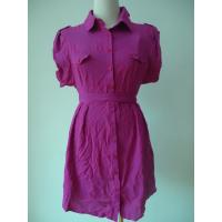 Quality 100 Viscose Purple Button Up Blouse Dress , Waist Belt Office Shirt Dress OEM Available for sale