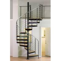 Quality Interior duplex wooden spiral staircase with inox steel rod railing design for sale