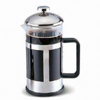 Quality French Press with Plastic Handle, Made of Borosilicate Glass and Stainless Steel for sale
