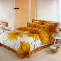 Quality Luxury Yellow Polyester Bed Sets , Microfiber Polyester Cotton Quilt Covers Sets for sale