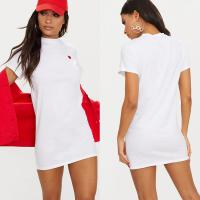 Women Classic Version White Heart Embroidered T Shirt Dress With O Neck for sale