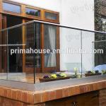 Quality Prima outdoor u channel modern deck glass railing for sale