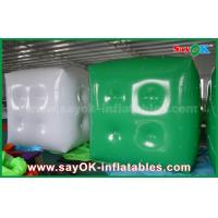 Quality Advertising White Green Inflatable Balloon / Cube Helium Balloon With Logo Print for sale