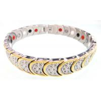 Quality Mens Stainless Steel Magnetic Bracelets With 4 IN 1 BIO Energy Germanium Elements for sale