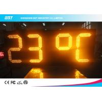 Quality Yellow Outdoor Led Clock Display Timer Digital Clock With Temperature Display for sale