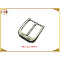 Quality Customized Silver Plated Zinc Alloy Metal Pin Belt Buckle With Emboss Logo for sale