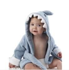 China Baby Aspen Baby Blue Terry Shark bath robe hodded beach towel on sale